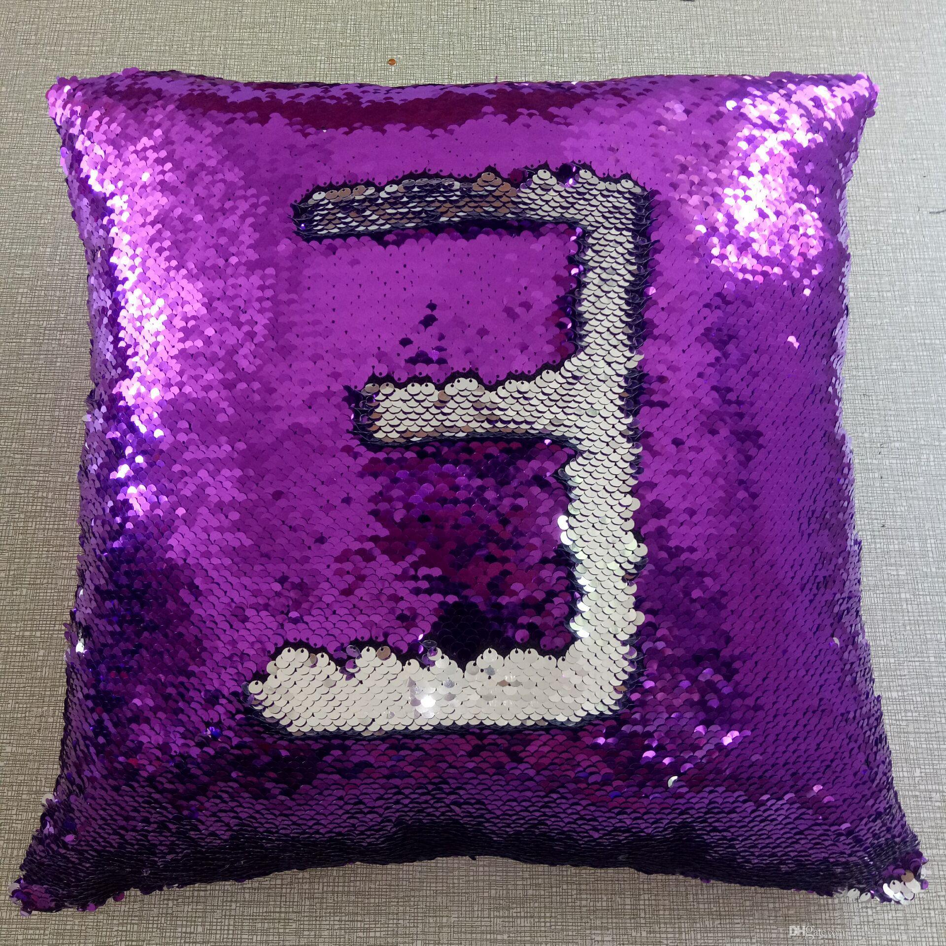 40 * 40 cm Hi Numero Reversibile Paillettes Sirena Cuscino Tiro Cuscino Auto Decorazione Della Casa Divano Decor Federa Decorativa