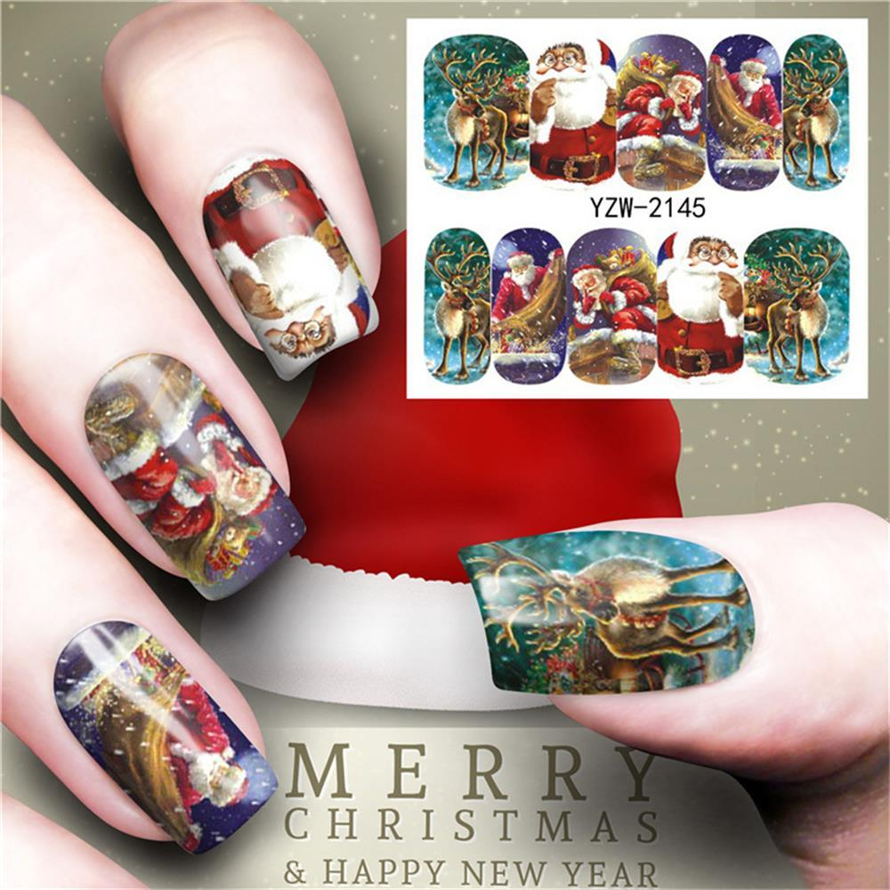 Merry Christmas Tree Nail Sticker Water Decals Nail Glitter Flower