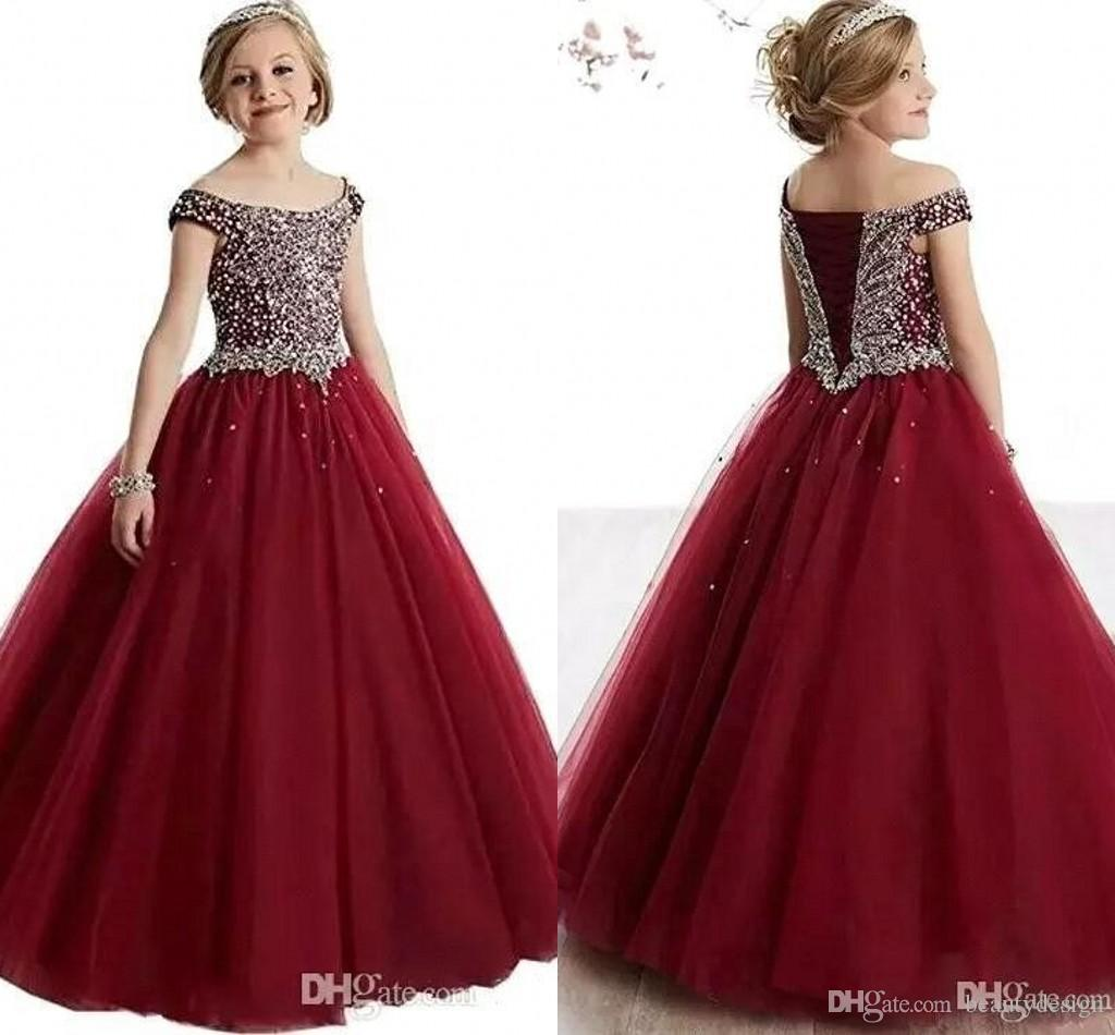 d1cfb9a473a Crystals Beaded A Line Tulle Girls Pageant Dresses Off Shoulders Corset  Back Floor Length Flower Girl Dress Pageant Gowns For Girls BA9422