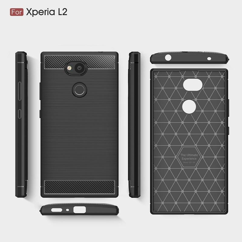 low cost cf4c2 0071b Mobilephone Cases For Sony Xperia L2 TPU Carbon Fiber heavy duty case for  Sony L2 back cover Free shipping