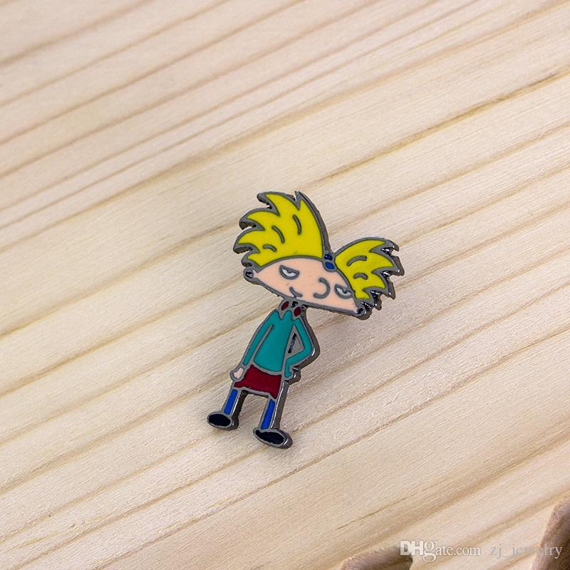 Personnage De Dessin Animé Cool Boy Broches Broches Enamel Broche Jaune Cheveux Garçon Épingles Badge Veste Tissu Bijoux Cadeau pour Fille Garçon Enfants