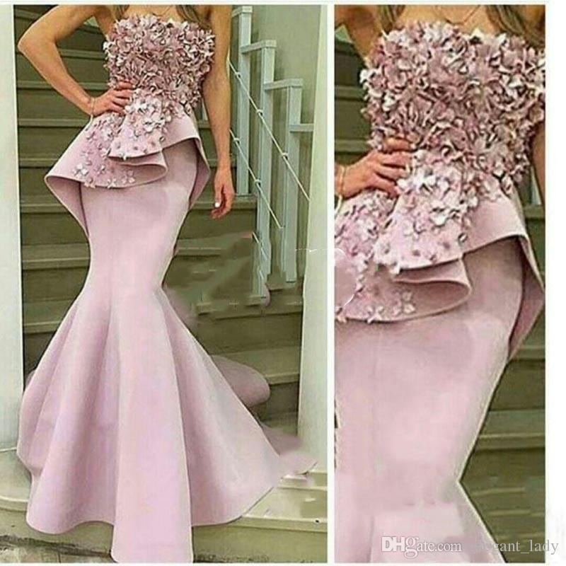 Floreale 3D rosa pallido vestito da promenade della sirena al largo senza spalline fiori fatti a mano abiti da sera lunghi Robe De Soiree Longue