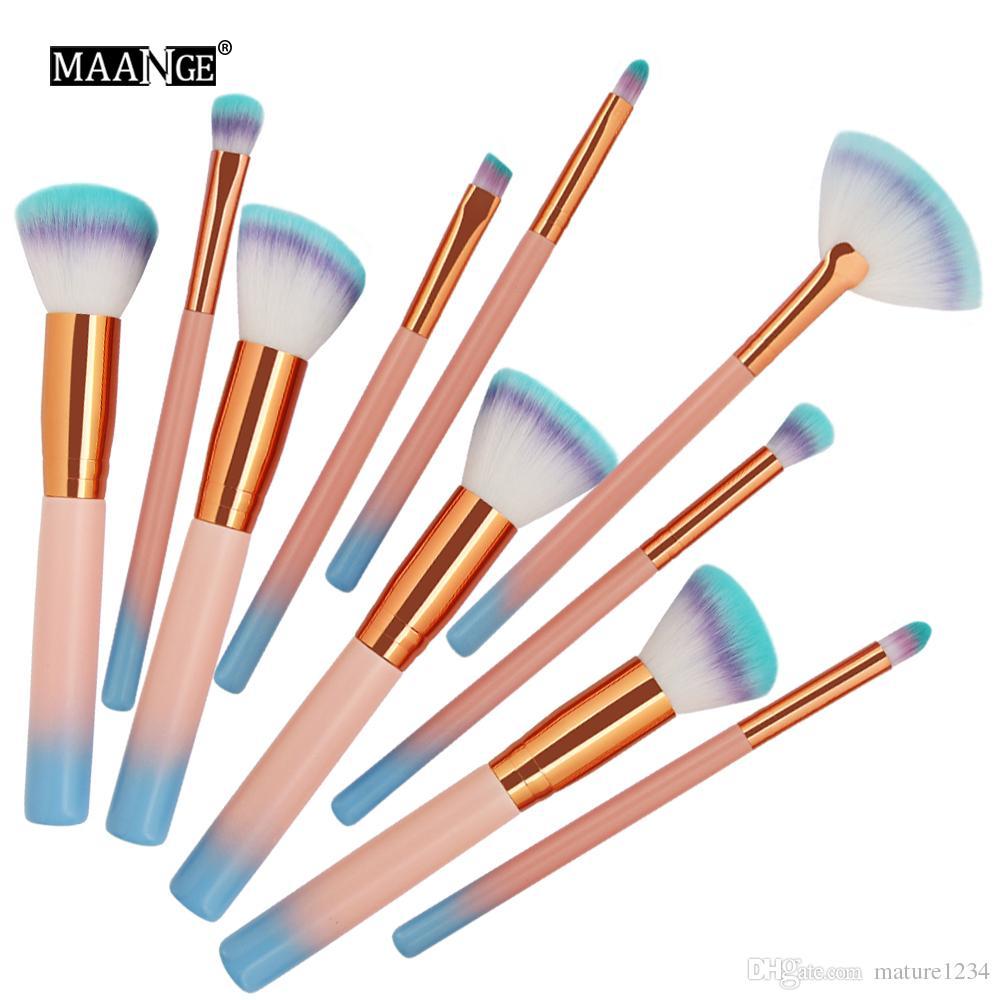 2019 Farbverlauf neue 10 Stücke Make-up Pinsel Kit Lidschatten Stirn Eyeliner Wimpern Lip Foundation Power Kosmetik Make-Up Pinsel Schönheit Blending Tool