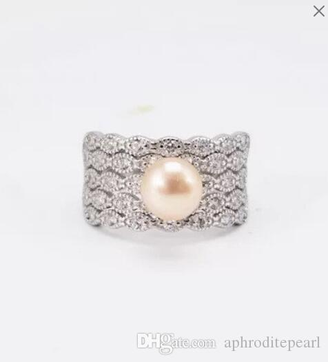 ONE pc zircon solid sterling silver ring setting,vintage ring mounting, ring blank without pearl, jewelry DIY, gift DIY