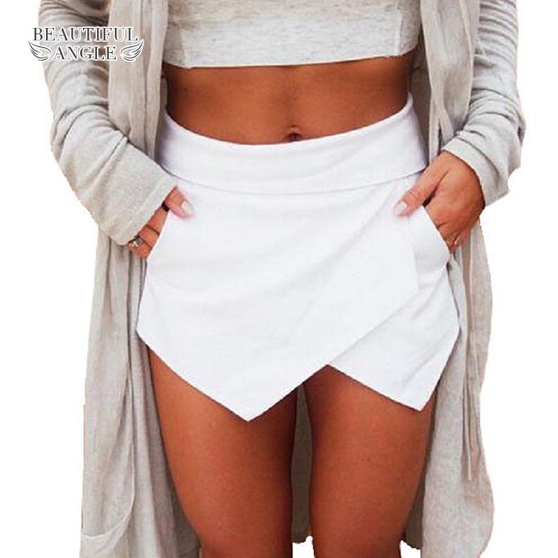 28ea6b5a51 Compre Pantalones Cortos Para Mujeres 2018 Faldas Cortas Para Mujer  Pantalones Cortos Para Mujer Cintura Alta Feminino Brillante Mini  Asimétrico es De ...