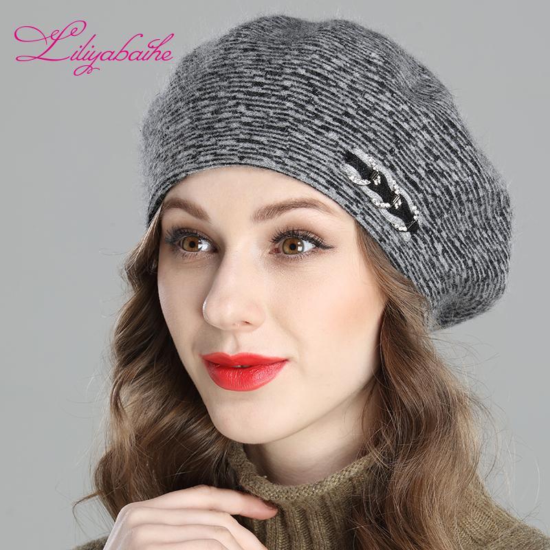 575f3d90a6821 2019 Liliyabaihe New Women s Winter Hat Angora Wool Knitted Berets ...