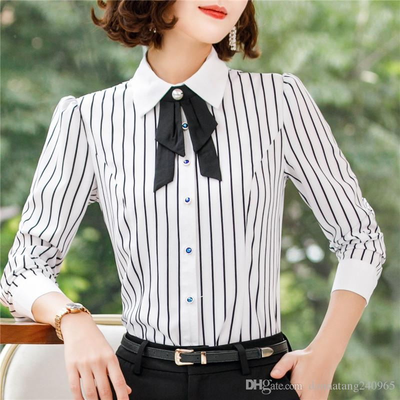 2019 Fashion Stripes Shirt Women Long Sleeve 2019 New Professional Ladies  Temperament Office Chiffon Blouse Office Plus Size Tops From  Donnatang240965 3ce020a993e8