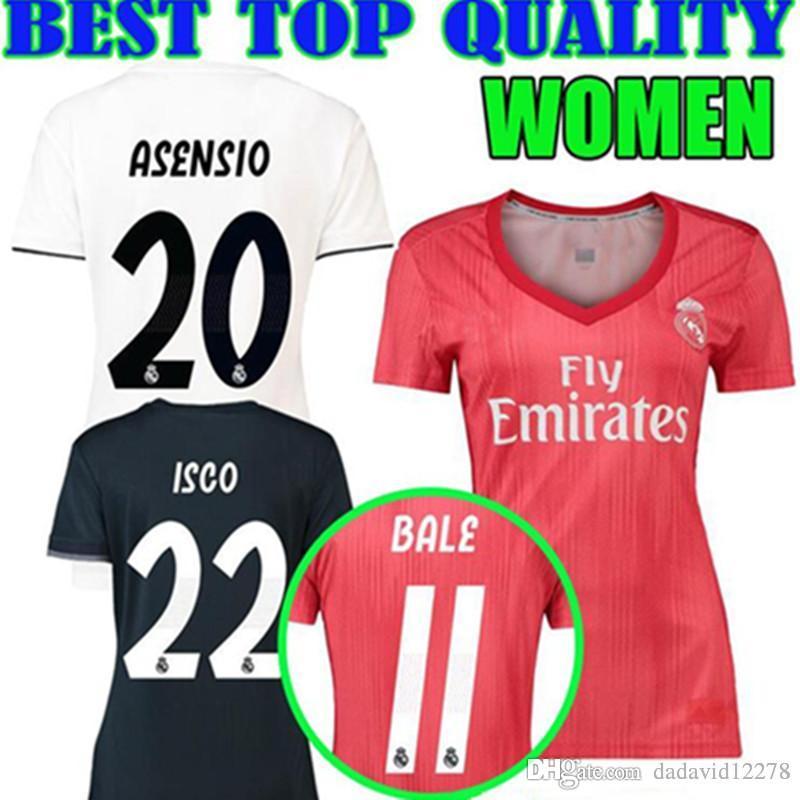 18 19 Camisetas De Fútbol De Las Mujeres Del Real Madrid En Casa 2018 2019  BALE ASENSIO KROOS ISCO BENZEMA Tercera Camiseta Roja De Fútbol Camisetas  De ... 1421bb95728