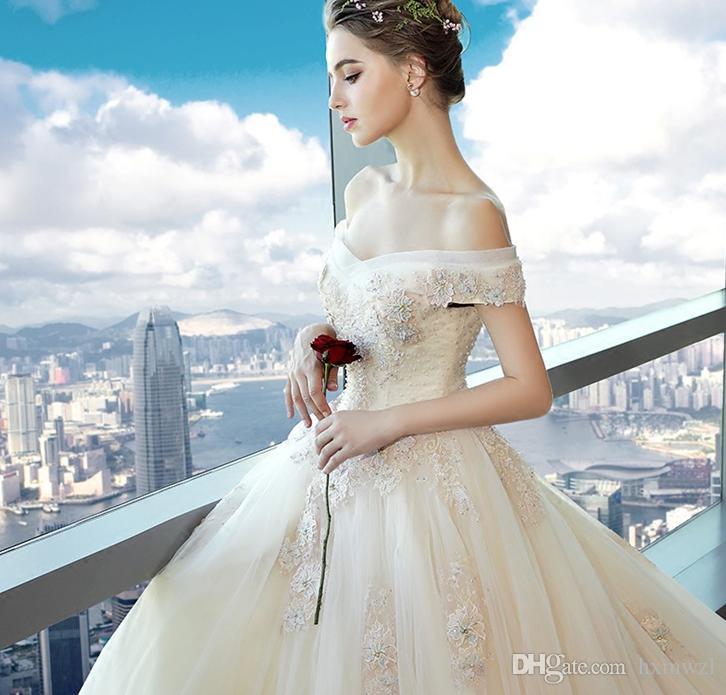 Großhandel Neue Hochzeits Kleid Braut Hochzeits Schlepper Prinzessin ...