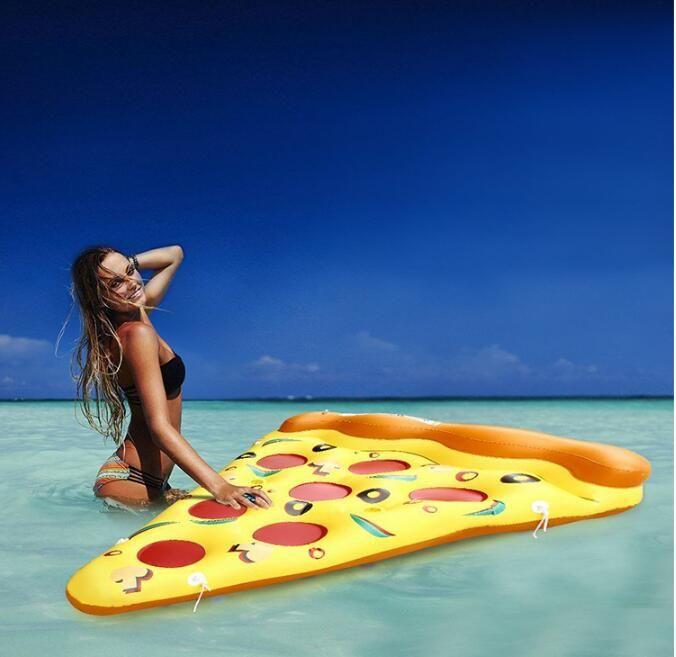 풍선 수레 수영장 부동 매트리스 거대한 노란색 풍선 피자 수영 수영장 해변 장난감 공기 침대 뗏목 수영 반지