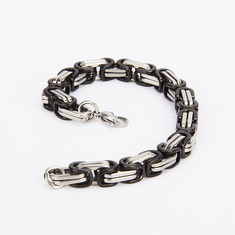 Braccialetto in acciaio inossidabile con catena a maglie a bretelline uomo pesante 8MM Braccialetti a maglia larga uomo con bretelle 2018