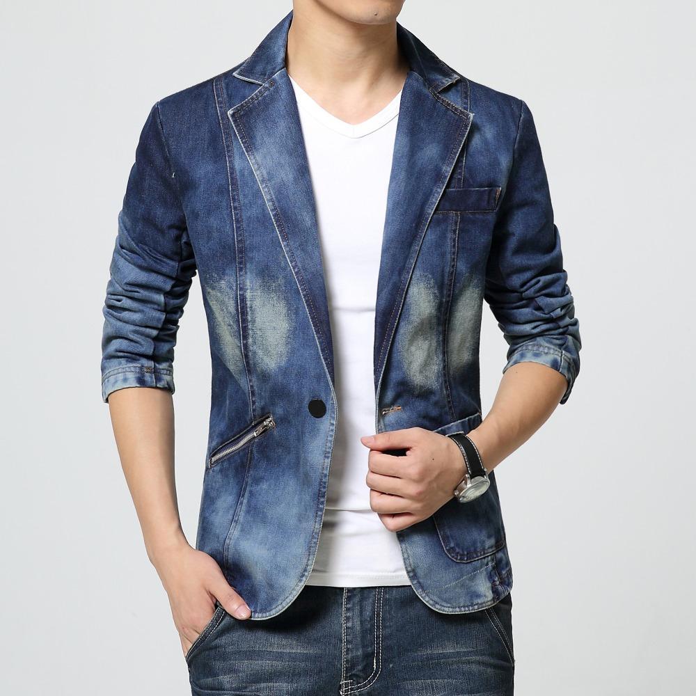 official photos d32c1 86185 Giacca sportiva da uomo Giacca jeans Giacca di jeans Slim fit nuovo 2017  cotone hombre Autunno moda uomo blazer di alta moda uomo