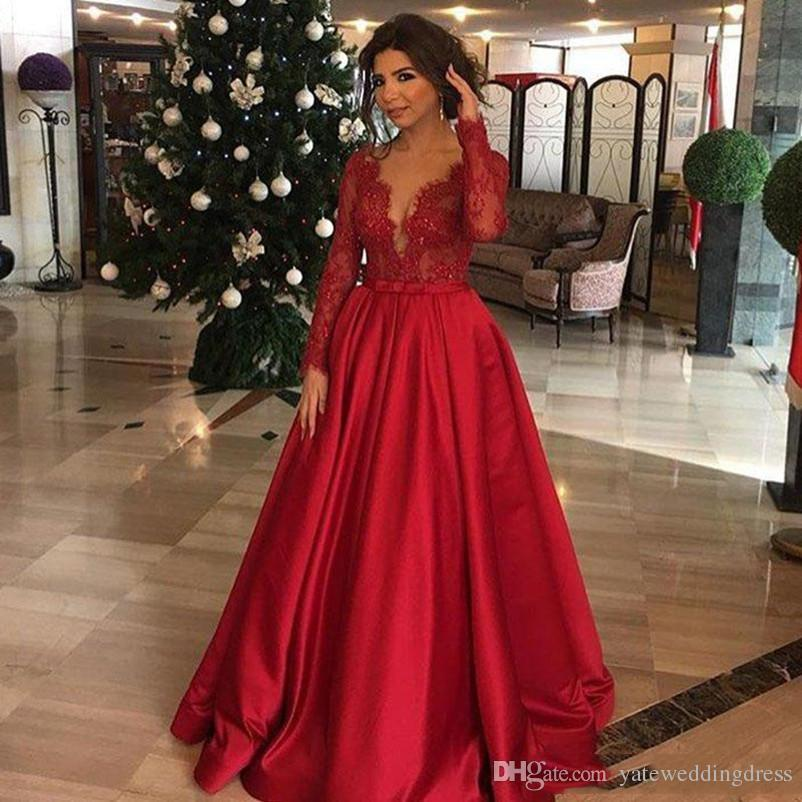 2018 Red Evening Dresses Plunging Long Sleeves Lace And Satin A Line ...