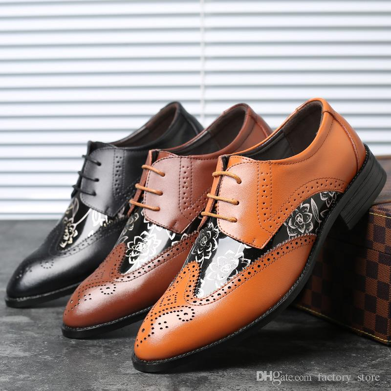 a0808e740a69 Designer Brogue Shoes Men Patent Leather Italian Brand Genuine Leather  Shoes Men Formal Oxford Shoes for Men Zapatos De Hombre Erkek Ayakkab Mens  Derby ...