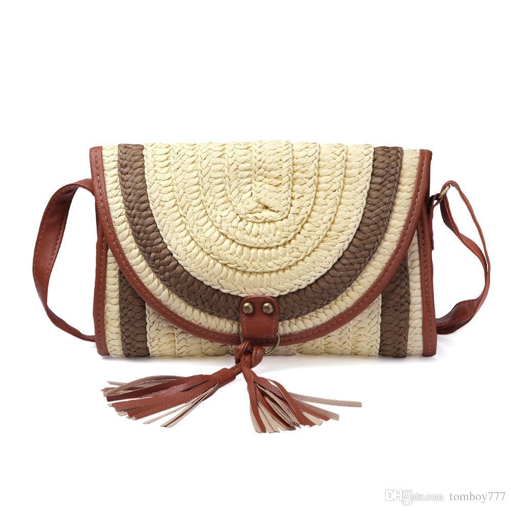 2018 Fashion Tassel Design Knitting Beach Bags Summer Straw ... 747be9eaa8