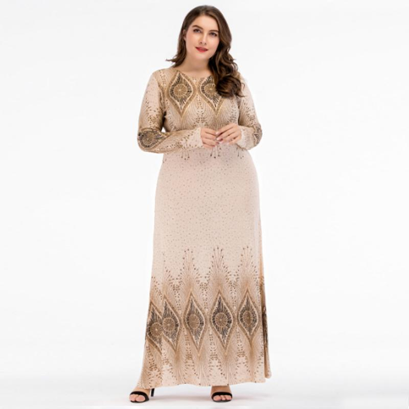 Beige Sequined Islamic Clothing Pakistani Sharara Dress In Big Size