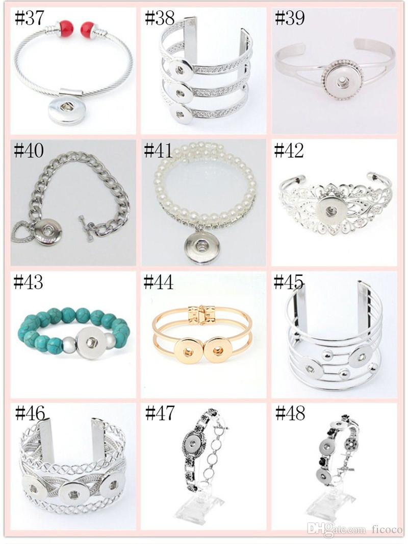 Trendy 69 Styles Alloy Charm Button Cuff Bracelets Noosa DIY Jewelry 18mm Snap Buttons Beaded Chunk Bracelets