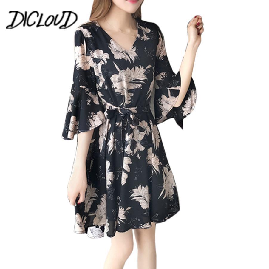 280ca5e5 Wholesale Floral Chiffon Dress Women V-Neck Casual Summer Dress 2018 New  Korea Slim Elegant Tie Up Bodycon Dresses Party Vestido Online with  $25.7/Piece on ...