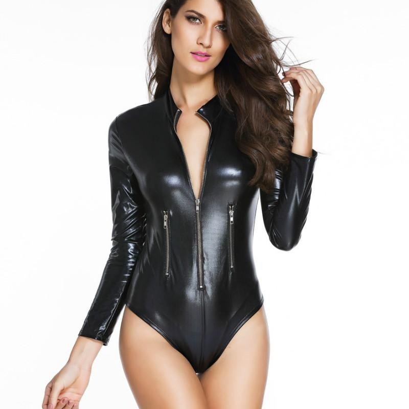 2016 Autumn Long Sleeve Fake Leather Black Bodysuits Women Sexy ... 912cbcb89