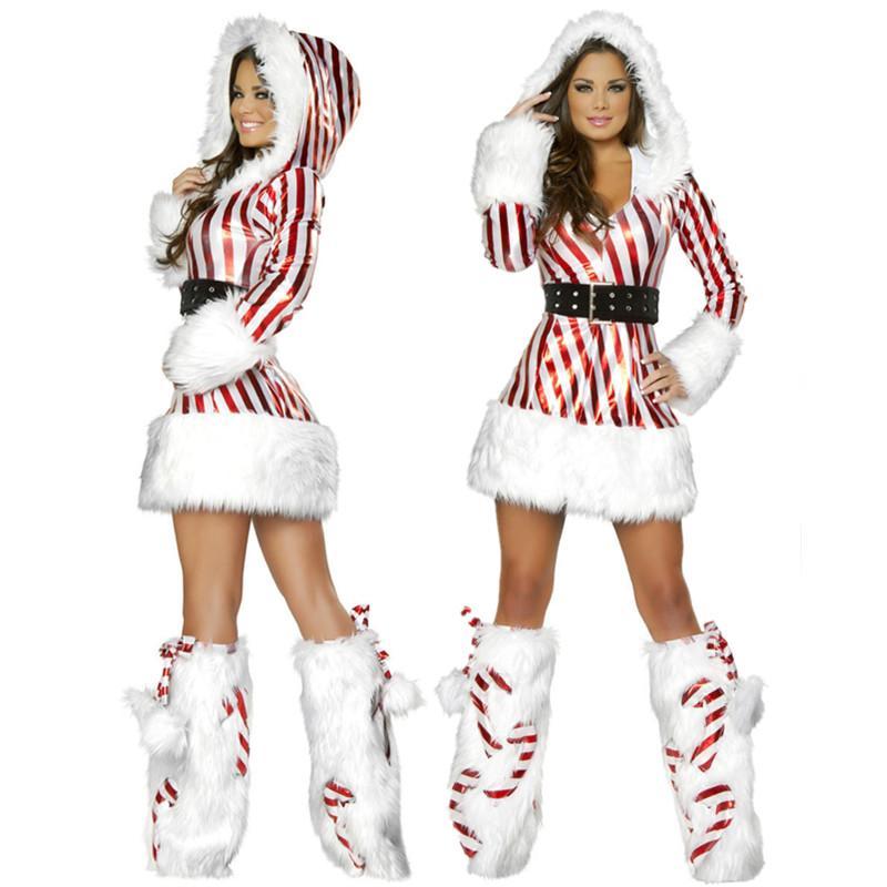 0f2c3fe818 New Arrival Christmas Dress Women Christmas Costume For Adult Striped  Velvet Fur Dresses Hooded Sexy Female Santa Claus Costume