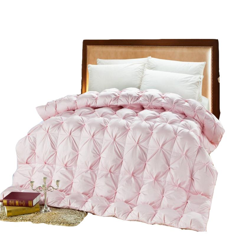 68a76d3b6f 2019 Double Bed Goose Down Comforter Pink White Duck Feather Thick Quilt UK  Super King Size Thick Warm Duvet Comforter For Winter From Shuishu