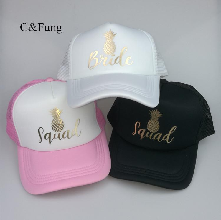 ... CFung Pineapple BRIDE SQUAD Mesh Trucker Hat Cap Snapback Bachelorette  Party Hats Girls Weekend Beach Team ... 77bdcdce297a