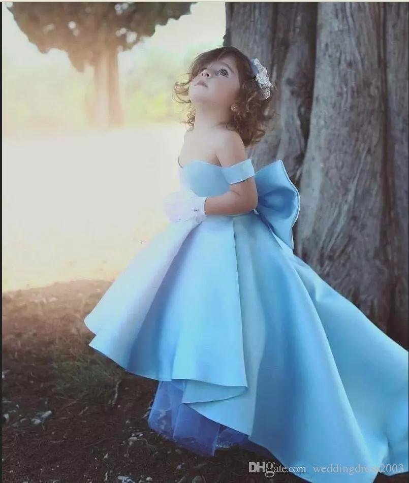 Cute 2018 Girls Pageant Dresses Off The Shoulder Neckline Big A Line Skirt High Low Hemline Sky Blue Satin Kids Prom Dresses