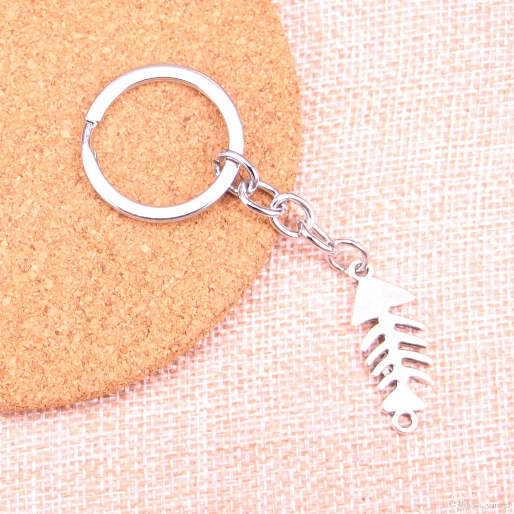 Fashion 28mm Key Ring Metal Key Chain Keychain Jewelry Antique Silver Plated fish bone connector 31*12mm Pendant