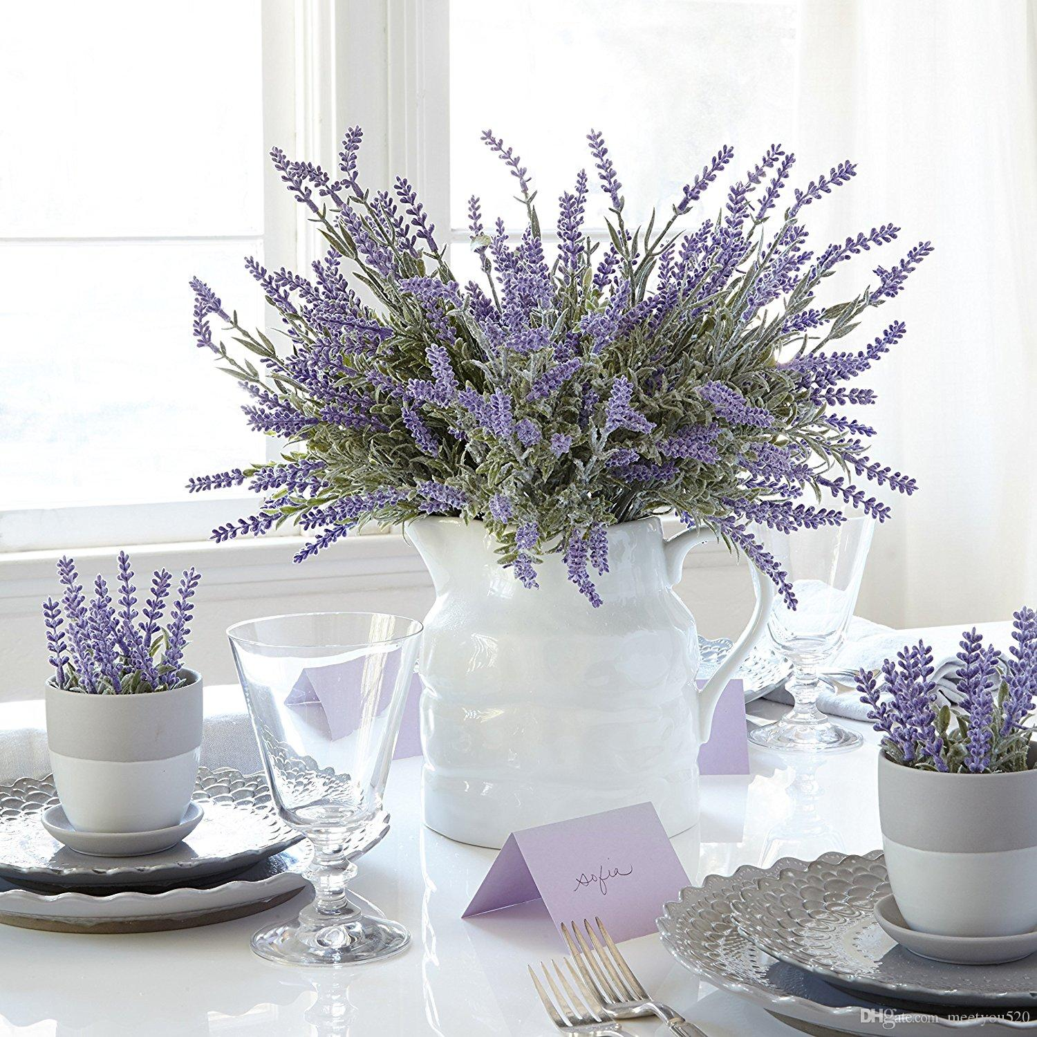 2018 Artificial Lavender Plant With Silk Flowers For Wedding Decor ...