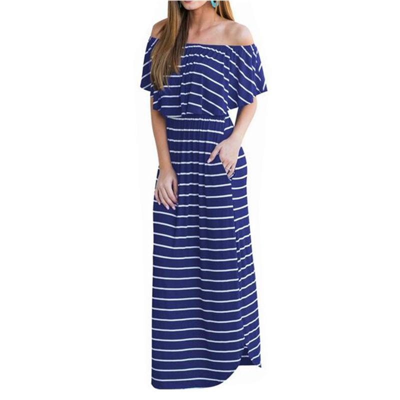 0cb59a2d33c Slash Neck Off Shoulder Sexy Long Dress Striped Ruffle Beach Women Dresses  2019 Summer Maxi Dress WS2646U Evening Dresses For Party Cocktail Skirts  For ...
