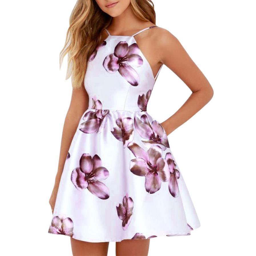 4312680062 Fashion Women Spaghetti Strap Floral Print Beach Style Skater A Line Mini  Dress Ladies Ball Gown Dresses Vestidos De Festa Sundresses Shift Dress  From ...