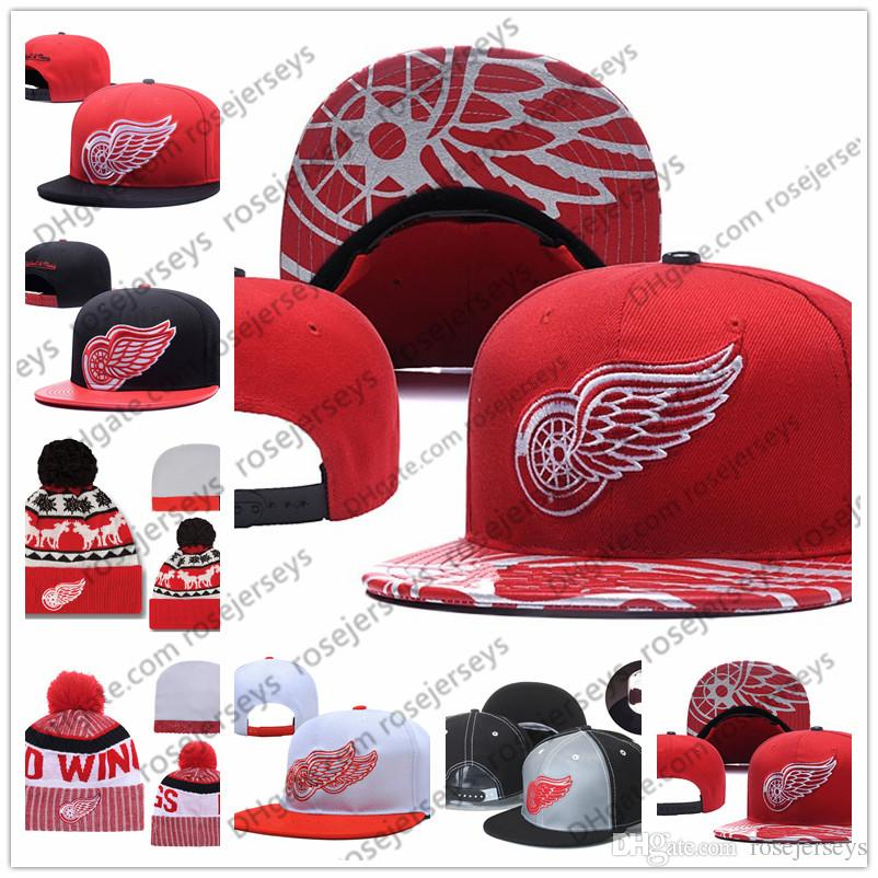 eac1cad95ac Detroit Red Wings Ice Hockey Knit Beanies Embroidery Adjustable Hat ...