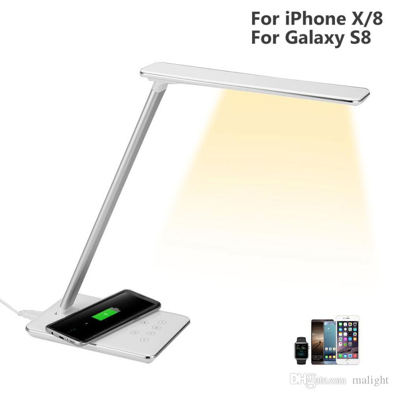 Led Bedside Table Lamp with Wireless Charger Touch Sensor Reading Lamp Eye Protection Level Dimmable Table Lamp With Qi Wireless Charger