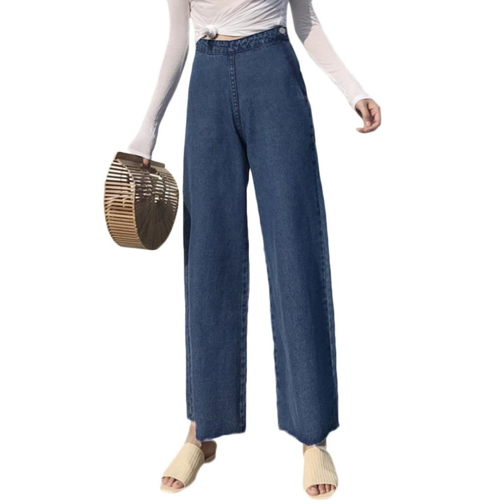 5590f2892add1 2019 Women Wide Leg Jeans Korean Vintage Side Zipper High Waist Denim Pants  Girl Straight Trousers Ankle Length Pant All Season Jean From Baxianhua