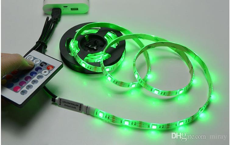 المصنع مباشرة DC5V USB LED RGB 5050 60leds / م 17key RF تحكم 50CM / 1M متر إضاءة خلفية التلفزيون