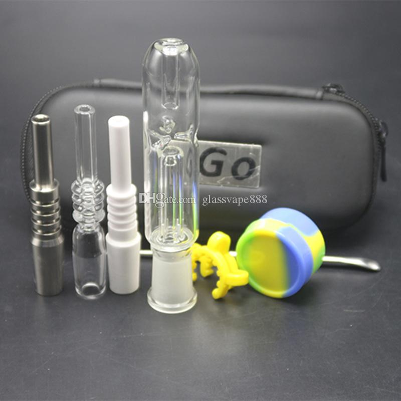 Colector de néctar Honeybird con 10 14 18 mm Cuarzo de titanio Cerámica Nail Grado 2 Honey Bird Concentrate Honey Dab Straw Glass Bong Pipa de agua
