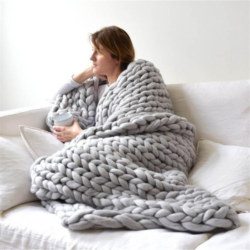 Thick Knitted Blanket Warm Decorative Thread Blanket Crochet In Classy Decorative Blankets And Throws