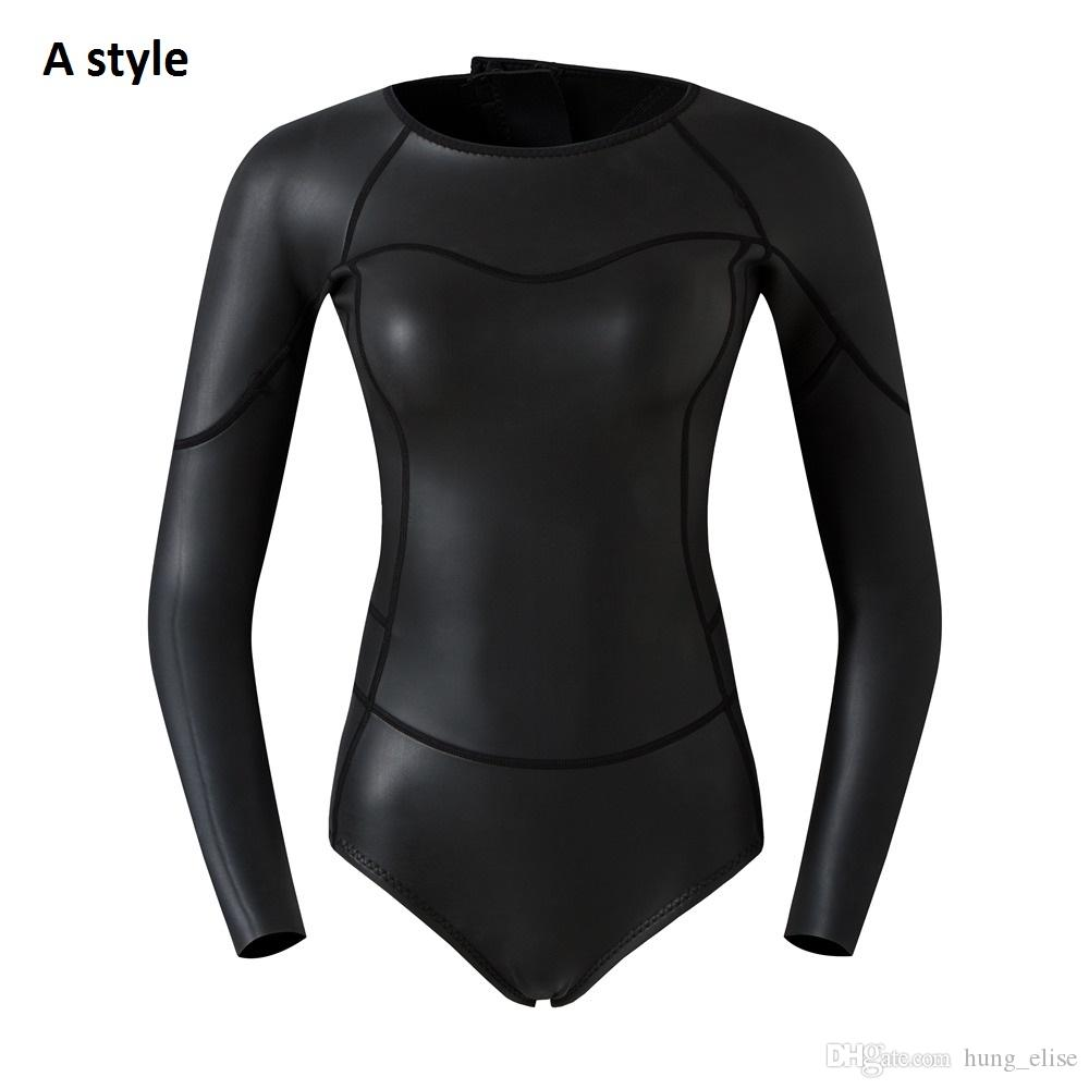 2mm Smooth Skin One Piece Long Sleeve Diving Wetsuit for Women Scuba ... 743a7f727