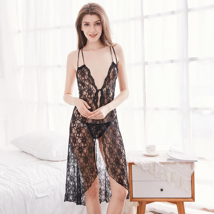 815cc86b826 2019 Black Lace Night Dress Women Sexy Temptation Hollow Backless Front  Split Strap Long Dress Lingerie Nightgown From Erotogenic01