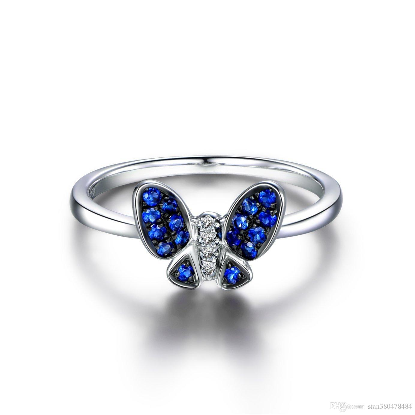 2019 European And American New Ring Sale Simple Blue Butterfly