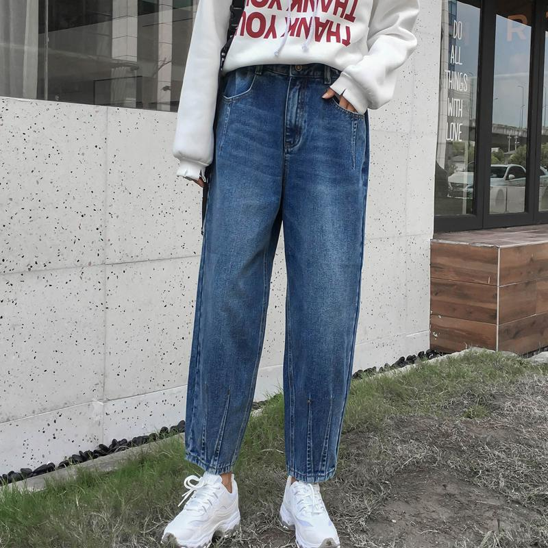 94f618bf8d Compre 2018 Washed Denim Jeans Pantalones Moda Para Mujer Cintura Alta Floja  Harem Pantalones Jeans Mujer A  47.55 Del Chencloth66