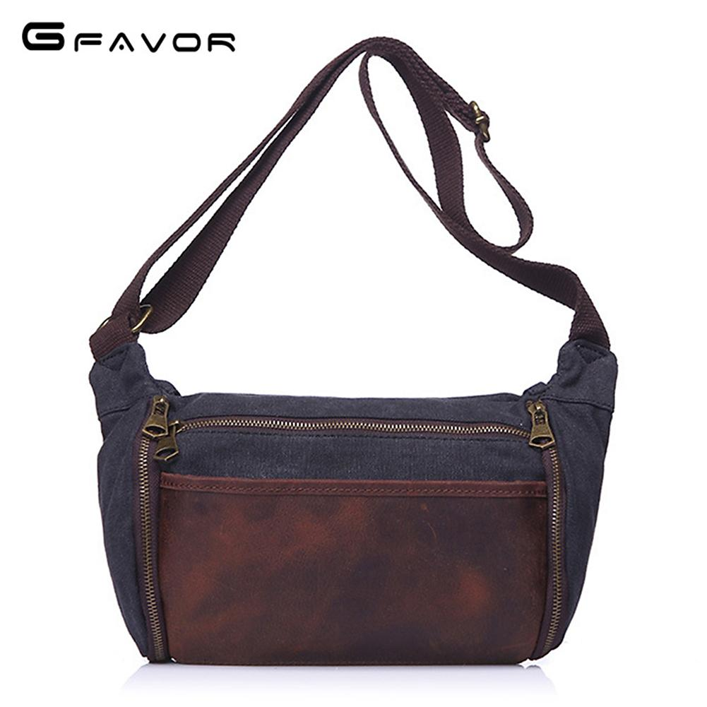 G FAVOR Brand Men s Messenger Bag Crazy Horse Leather Canvas Flap Crossbody  Bag Men High Quality Patchwork Single Shoulder Bags Small Purses Designer  ... 9abdaaad84