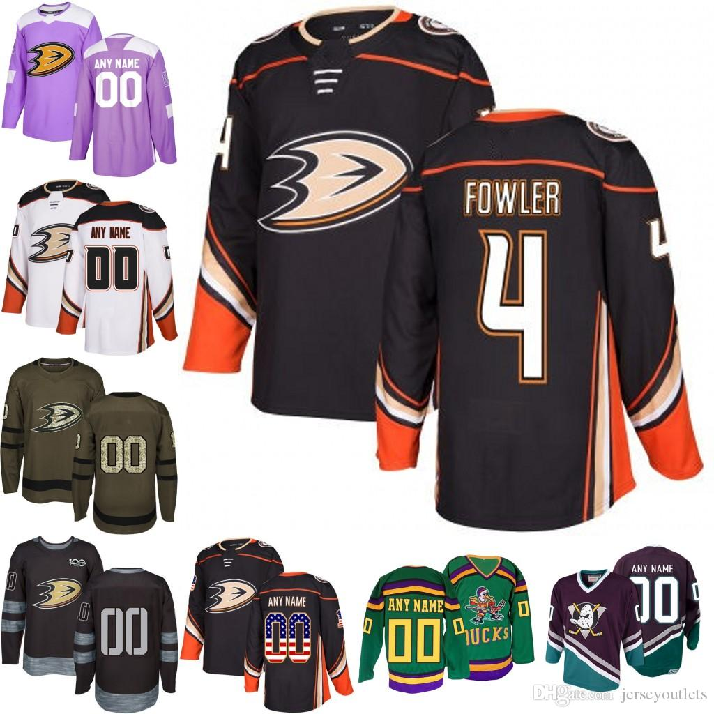 085fb7384 2019 2019 Men S Anaheim Ducks 4 Cam Fowler Ice Hockey Jersey Purple Black  White Army Green 100th Flat Usa Accept Size S 3XL From Jerseyoutlets