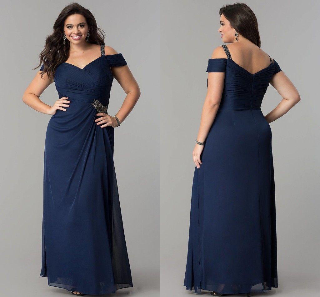 Romantic Boho Cold Shoulders Plus size Prom Evening Dress Long 2018 Navy  Blue Beaded Sheath Chiffon Zipper Back Pleated Party Evening Dress