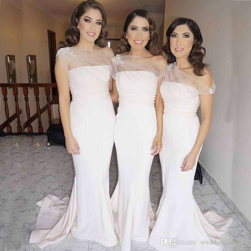 d142ea3fed Compre 2019 Sirena Elegante Damas De Honor Vestidos Sheer Un Hombro Fruncido  Tul Apliques De Encaje Largo Vestidos De Dama De Honor Boda Vestido De  Invitado ...
