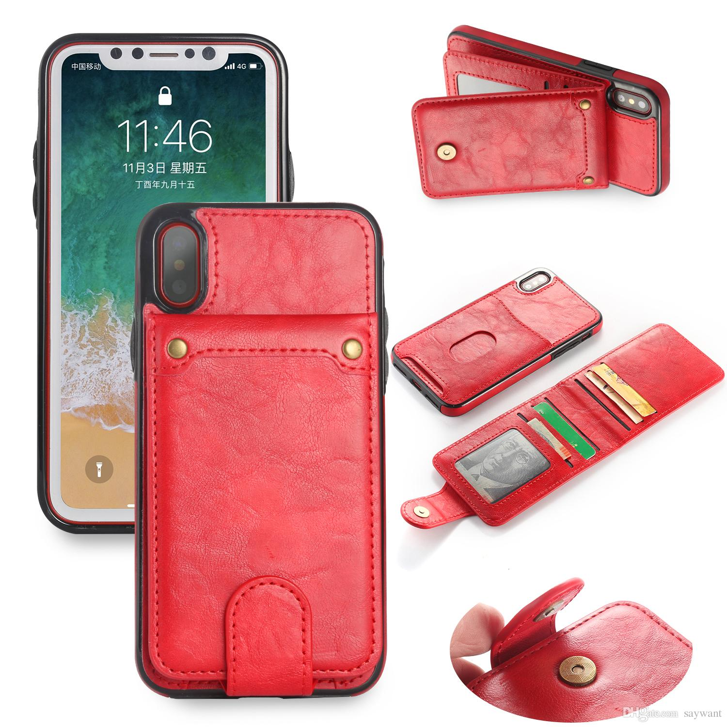 top design aad3b 1ccae Split type Multi-functional Fashion Magnetic Flip Leather Wallet phone case  for iPhone X 8 7 6 plus Samsung note8 S8 with Card Slots