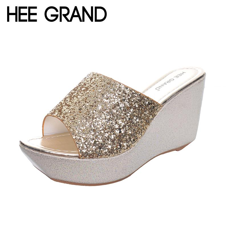 3633f92b3ba04 HEE GRAND Women Slippers Bling Bling Glitter Platform Wedge Slides 2017  Thick Bottom Casual Women Shoes XWT513 White Shoes Womens Sandals From  Fenxin