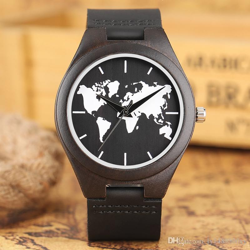 Top gifts luxury world map wooden watch genuine leather band dark top gifts luxury world map wooden watch genuine leather band dark bamboo wood quartz watches mens fashion relogio masculino male wristwatch casual mens gumiabroncs Gallery