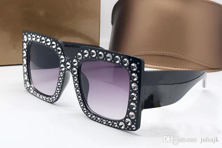 Luxury Sunglasses Women Brand 0145S Square Large Frame Elegant Special Designer with Diamond Rivets Frame Built-In Circular Lens With Case