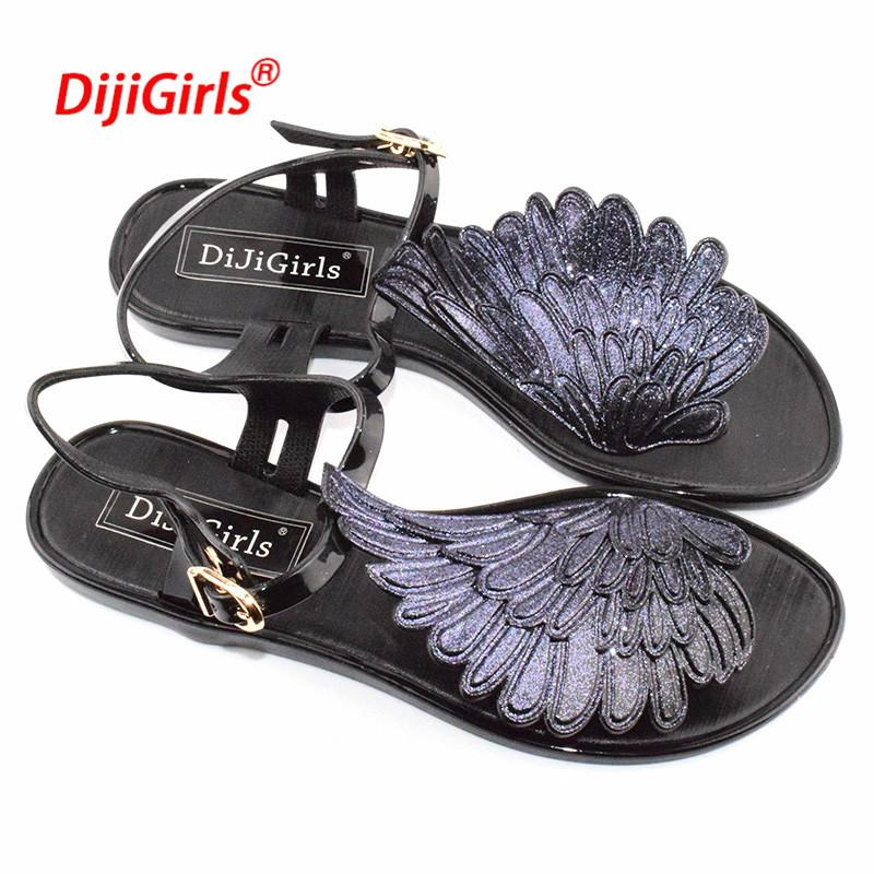 034a30c6ccd 2018 Summer Fashion Jelly Sandals Women Shoes Female Fashion Flat Flip  Wings Personalized Flip Flops Sandals Gladiator Shoes Jack Rogers Sandals  White ...